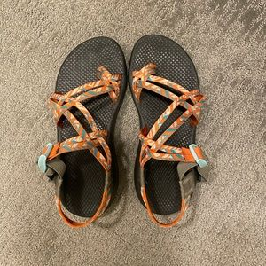 Orange and blue Chacos